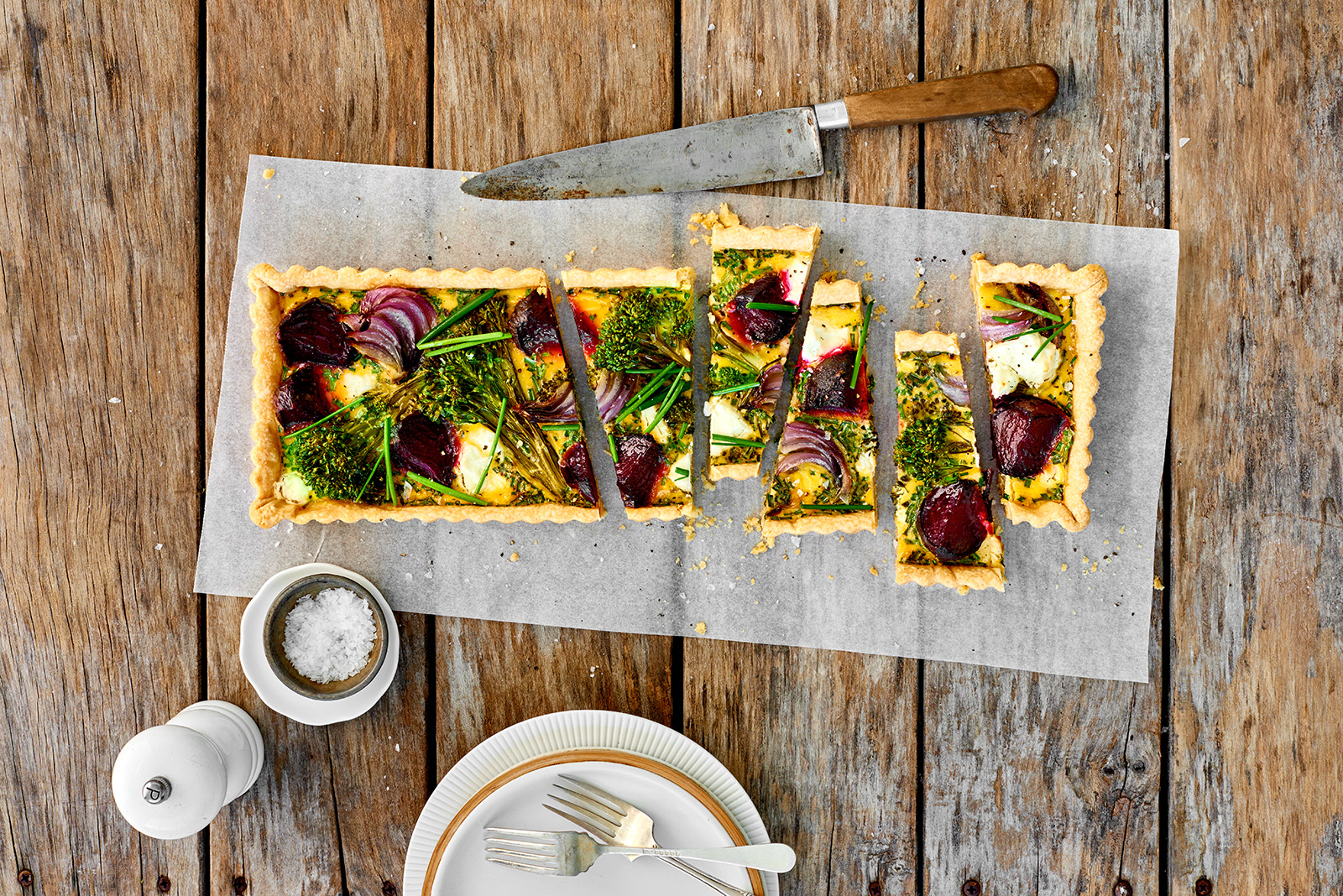 Beetroot, broccoli, goats cheese and chive tart