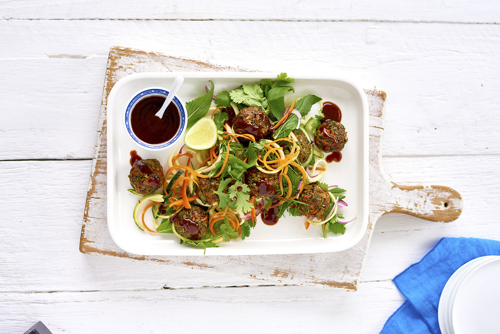 Asian vegetable fritter balls with hoisin sauce