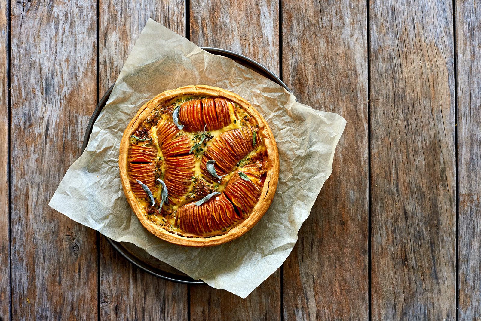 Hasselback sweet potato quiche