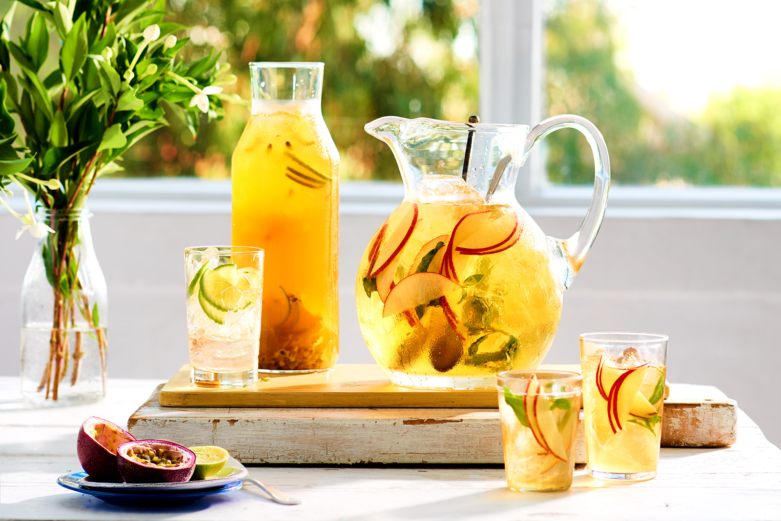 Apple coconut and mint iced tea