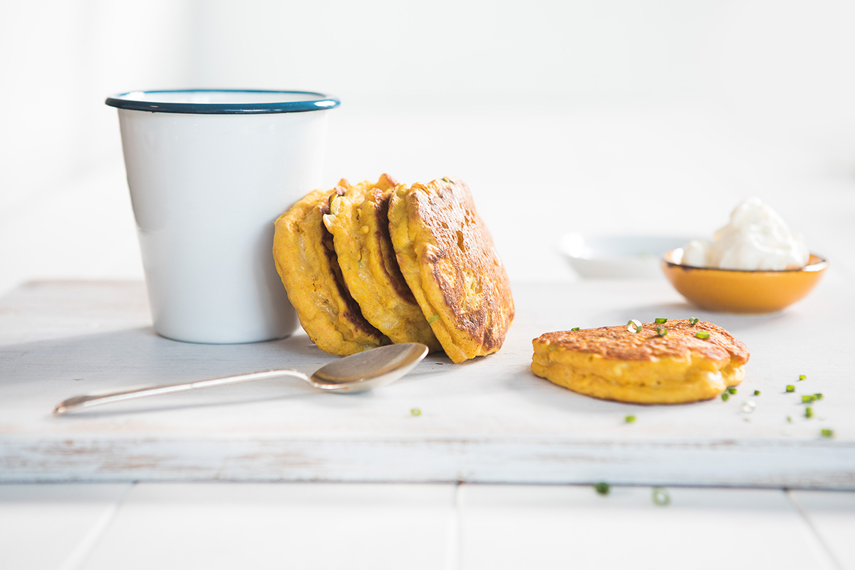 Pumpkin and Cheese Pikelets